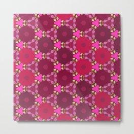 Kaleidoscope Flowers RedPink Metal Print