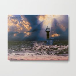 Light House in storm Metal Print