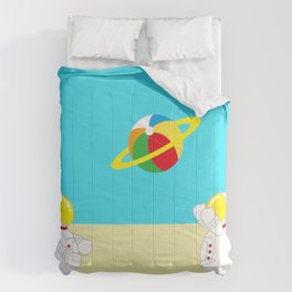 Space Odyssey | Astronaut Beach | Beach Ball | Summer | Sea | Seaside | Ocean | pulp of wood Comforters