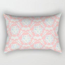 Shabby elegant coral ivory pastel blue floral damask Rectangular Pillow