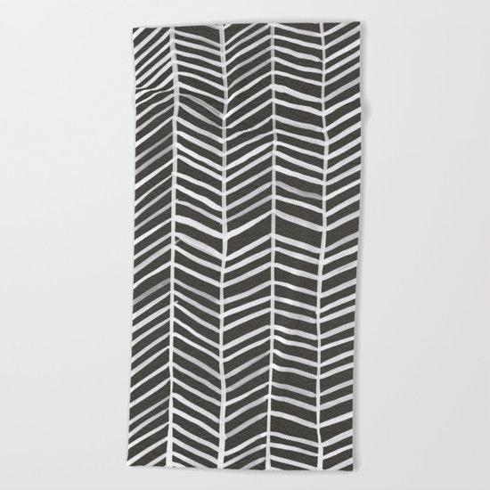 Herringbone – Black & White Beach Towel