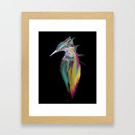 Kingfisher 1f. Full color on black background - (Red eyes series) Framed Art Print