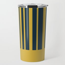 Mustard Yellow and Blue Half Stripe Minimalist Color Block Pattern Travel Mug