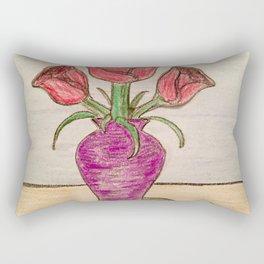 Three roses In a vase Rectangular Pillow