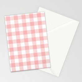 Coral Checker Gingham Plaid Stationery Cards