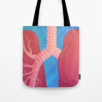 lungs Tote Bags featuring Lungs by Lauren Rakes