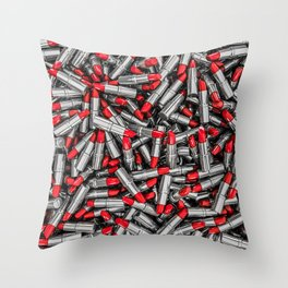 Lipstick chrome / 3D render of red chrome lipsticks Throw Pillow
