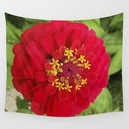Red, RED Zinnia Wall Tapestry