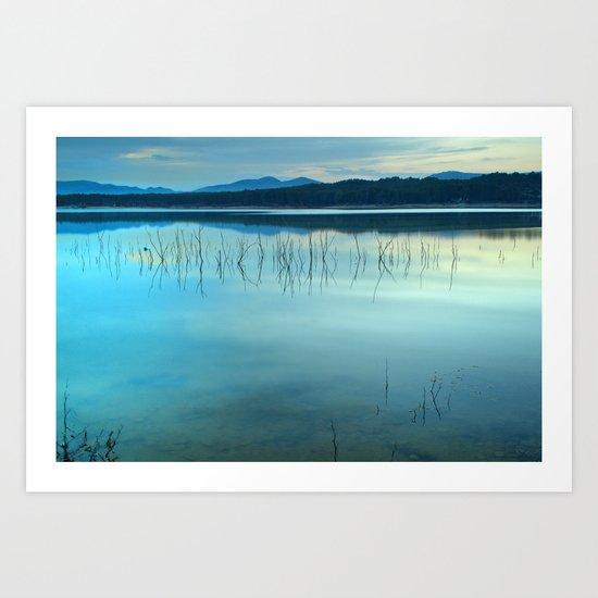 Blue sunset at the lake Art Print