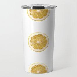 Lemon cropped on white background Travel Mug