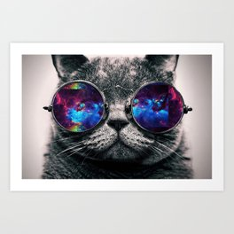 Galaxy Hipster Cat Art Print