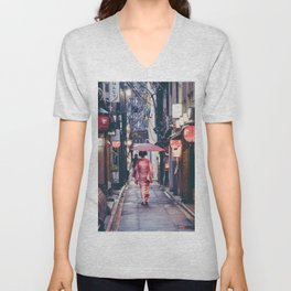 Geisha In Kyoto Unisex V-Neck