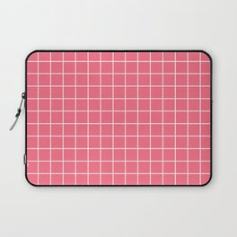 Wild watermelon - pink color - White Lines Grid Pattern Laptop Sleeve