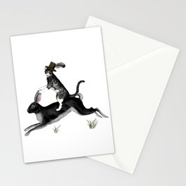 Cat And Rabbit Going For A Ride Stationery Cards