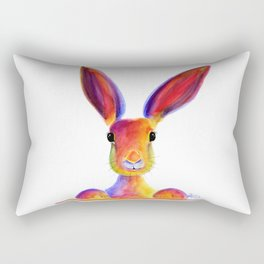 Happy Hare Rabbit ' JUST TO SAY HELLO ' by Shirley MacArthur Rectangular Pillow