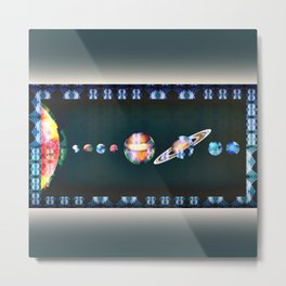 Trippy Tribal Print Solar System Space Scene Metal Print