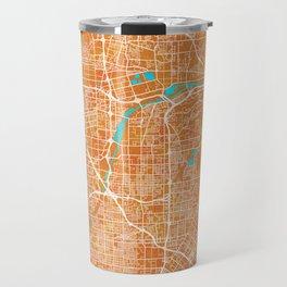 Anaheim, CA, USA, Gold, Blue, City, Map Travel Mug