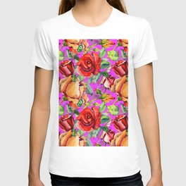 Red orange green watercolor floral roses pattern T-shirt