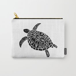 Linocut black and white turtle turtles ocean ocean life sealife art Carry-All Pouch