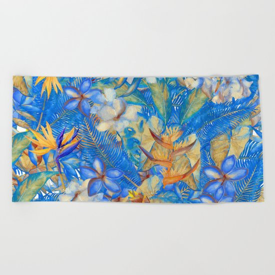 My Blue Aloha Tropical Flower Hibiscus Garden on #Society6 Beach Towel