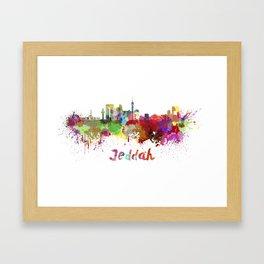 Jeddah skyline in watercolor Framed Art Print