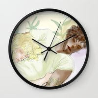 les mis Wall Clocks featuring Sleeping ExR Les Mis by Pruoviare