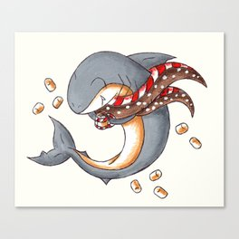 Hot Cocoa Shark Canvas Print