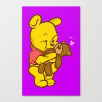 pooh Canvas Prints featuring Pooh And Teddy by Artistic Dyslexia