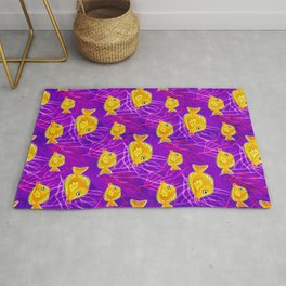 Yellow Tang in Purple Coral Rug