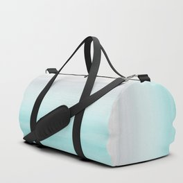 Touching Aqua Blue Gray Watercolor Abstract #1 #painting #decor #art #society6 Duffle Bag