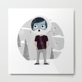 Illustration little boy dream of astronauts to fly into space. Metal Print