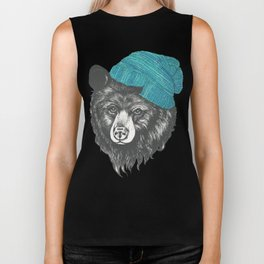 Zissou the bear in blue Biker Tank
