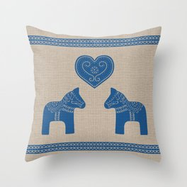 Christmas Blue Dala Horses on Burlap Throw Pillow