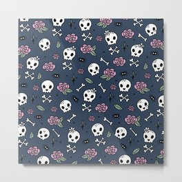 Little kawaii skulls and roses day of the dead halloween pattern navy pink Metal Print
