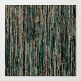 Teal and Metallic Rose Gold Marble Stripes Canvas Print