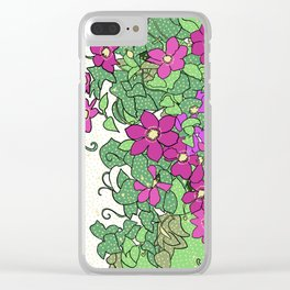 Swirling vines of Clematis in shades of pink and green Clear iPhone Case