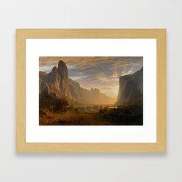 Looking Down Yosemite Valley, California ALBERT BIERSTADT, hills, brown, art Framed Art Print