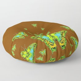 GREEN-YELLOW MOTHS ON COFFEE BROWN Floor Pillow
