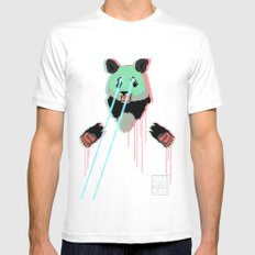 Panda with F$%king Lazers Mens Fitted Tee White MEDIUM