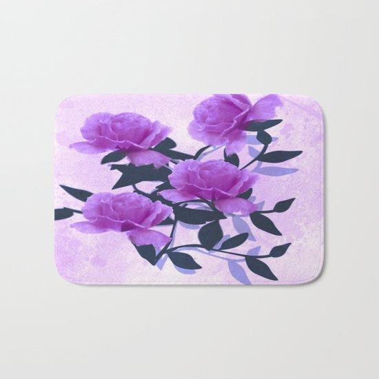 Lavender Floral Love Abstract Bath Mat