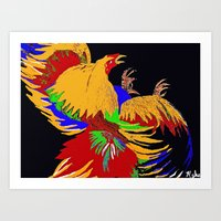 cock Art Prints featuring Cock Fight by Saundra Myles