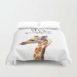 You Are My Sunshine Giraffe Nursery Animals Watercolor Art Duvet Cover