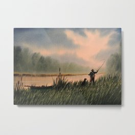 The Fly Fisherman With His Loyal Friend Metal Print
