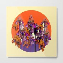 "modern art "" PURPLE & CREAM "" ORANGE IRIS GARDEN Metal Print"