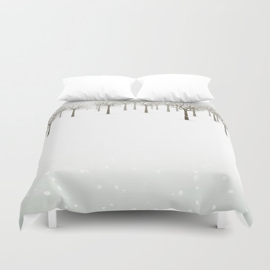 Winter Forest by Friztin Duvet Cover
