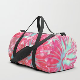 Blue Water Hibiscus Snowfall Duffle Bag