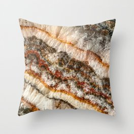 Agate Crystal V // Red Gray Black Yellow Orange Marbled Diamond Luxury Gemstone Throw Pillow