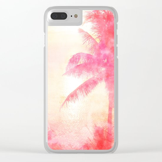 Summer Sea, Sunset at Palm Beach Clear iPhone Case