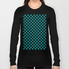 Black and Teal Green Checkerboard Long Sleeve T-shirt