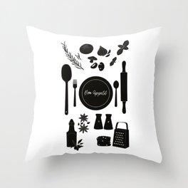 Bon Appetit Illustration Throw Pillow